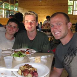 boys dinner at camp
